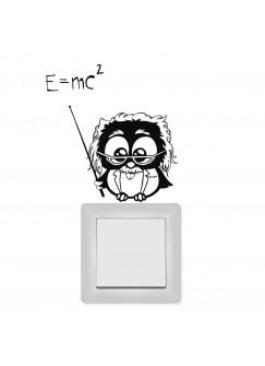 Wandtattoo Lichtschaltertattoo Albert Einstein Eule M1665