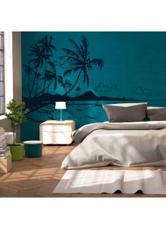 Wandtattoo Karibik Südsee Palmen Meer Strand M1887