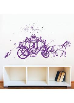 Wandtattoo Pferdekutsche Prinzessin Cinderella mit Waschbär Hase und Sterne M1714