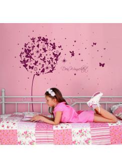 Wandtattoo Pusteblume mit Elfen Feen Schmetterlingen Blumen Punkten Sternen und Wunschtext M2056