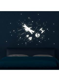 Wandtattoo Sternenflotte Raumschiffe Sterne Weltall Weltraum mit Sterne und Punkte Leuchtsticker fluoreszierend M1747