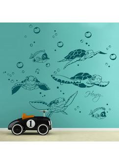 Wandtattoo Schildkröten mit Fische Wasserblasen und Wunschname M1755