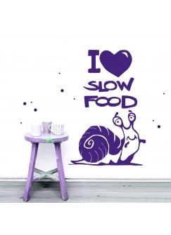 """Wandtattoo süße Schnecke mit Spruch """"I heart Slow food"""" M1942"""