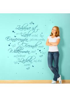 Wandtattoo Spruch Zitat Zuhause ist... Liebe Erinnerungen Familie mit Sternen und Schmetterlingen M1968