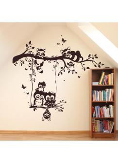 Wandtattoo Waschbären und Eulen auf Baum mit Punkte und Schmetterlinge M1545