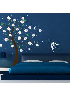 Wandtattoo Baum Kirschblütenbaum Kirschbaum mit Feen Blumen und Sterne vierfarbig M1164b