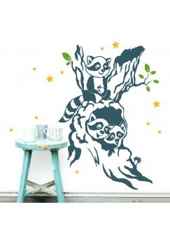 Wandtattoo Wandaufkleber Waschbär Waschbären Kinder im Baum mit Sternen M1915 3-farbig