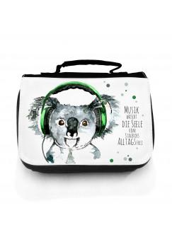 Waschtasche Kosmetiktasche Koala Bär mit Kopfhörer Punkte und Spruch Musik wäscht die Seele frei... wt078