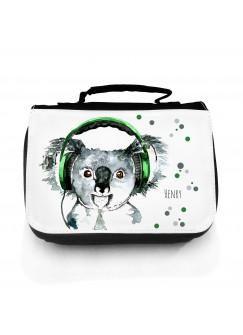 Waschtasche Kosmetiktasche Koala Bär mit Kopfhörer Punkte und Wunschnamen wt077