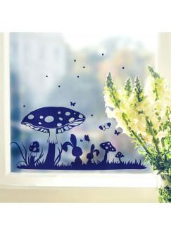 Fensterbild Fensterdeko Wandtattoo Wiese mit Hasen Pilzen und Punkte M2108