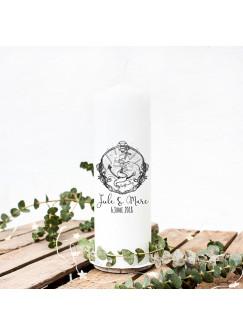 Hochzeitskerze Kerze zur Hochzeit Trauung Traukerze mit Anker Spruch Wunschnamen & Datum wk10