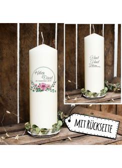 Hochzeitskerze Kerze zur Hochzeit Trauung Traukerze Kreis mit Rosengesteck & Spruch Wunschnamen & Datum wk101