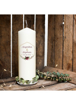 Hochzeitskerze Kerze zur Hochzeit Trauung Traukerze Vermählung Rahmen mit Blumengesteck Wunschnamen & Datum wk103