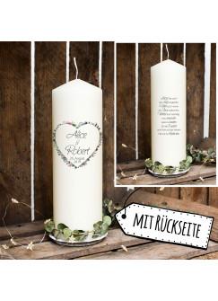 Hochzeitskerze Kerze zur Hochzeit Trauung Traukerze Blumenherz & Spruch Wunschnamen & Datum wk104