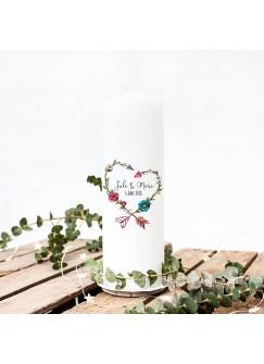 Hochzeitskerze Kerze zur Hochzeit Trauung Traukerze mit Blumenherz Wunschnamen & Datum wk11