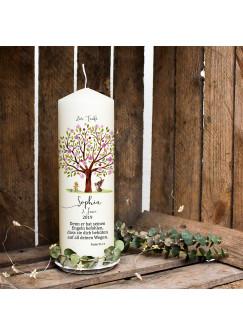 Taufkerze Kerze zur Taufe Baum rosa Hase Entchen Wunschname Spruch individualisierbar wk121