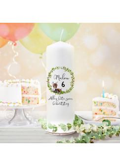 Geburtstagskerze Kerze zum Geburtstag Reh Waschbär Wunschname Alter wk126 + wahlweise passendes Teelichthüllen-Set te126