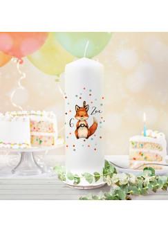 Geburtstagskerze Kerze zum Geburtstag Fuchs Füchschen Herz Wunschname Alter wk129 + wahlweise passendes Teelichthüllen-Set te129