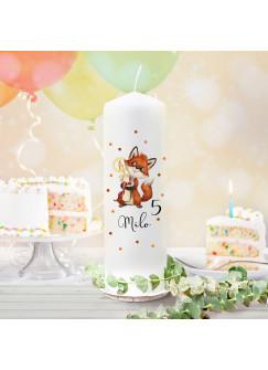 Geburtstagskerze Kerze zum Geburtstag Fuchs Füchschen Wunschname Alter wk130 + wahlweise passendes Teelichthüllen-Set te130