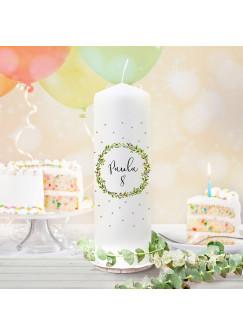 Geburtstagskerze Kerze zum Geburtstag Blumen boho Wunschname Alter wk131 + wahlweise passendes Teelichthüllen-Set te131