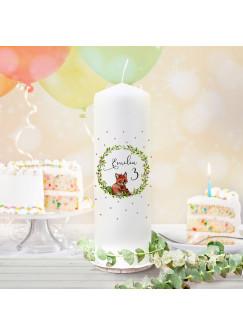 Geburtstagskerze Kerze zum Geburtstag Fuchs Blumenkranz Wunschname Alter wk132 + wahlweise passendes Teelichthüllen-Set te132