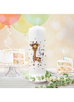 Geburtstagskerze Kerze zum Geburtstag Giraffe Wunschname Alter wk133 + wahlweise passendes Teelichthüllen-Set te133