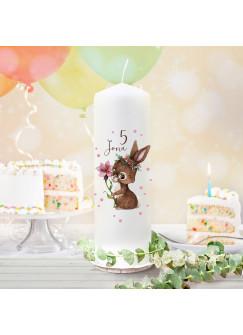 Geburtstagskerze Kerze zum Geburtstag Blume Hase Häschen Wunschname Alter wk134 + wahlweise passendes Teelichthüllen-Set te134