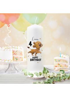 Geburtstagskerze Kerze zum Geburtstag Löwe Löwenbaby Wunschname Alter wk138 + wahlweise passendes Teelichthüllen-Set te138