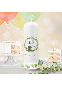 Geburtstagskerze Kerze zum Geburtstag Elefant Blätterkranz Wunschname Alter wk139 + wahlweise passendes Teelichthüllen-Set te139