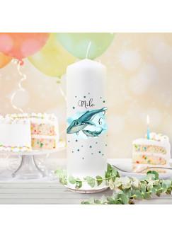 Geburtstagskerze Kerze zum Geburtstag Wal Walbaby Wunschname Alter wk157 + wahlweise passendes Teelichthüllen-Set te157