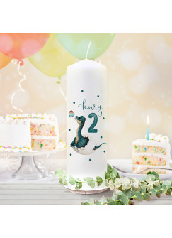Geburtstagskerze Kerze zum Geburtstag Dino im Ei Wunschname Alter wk158 + wahlweise passendes Teelichthüllen-Set te158