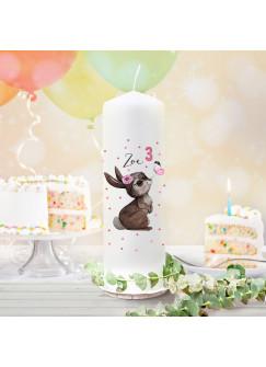 Geburtstagskerze Kerze zum Geburtstag Hase Schmetterling, Wunschname Alter wk159 + wahlweise passendes Teelichthüllen-Set te159