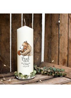 Taufkerze Kerze zur Taufe oder Geburt Kommunionkerze mit Bär Eichhörnchen & Wunschname wk16