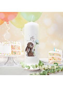 Geburtstagskerze Kerze zum Geburtstag Hase Häschen Pusteblume Wunschname Alter wk160 + wahlweise passendes Teelichthüllen-Set te160