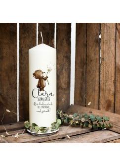 Taufkerze Kerze zur Taufe oder Geburt Kommunionkerze mit Bär Pusteblume & Wunschname wk17