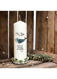 Taufkerze Kerze zur Taufe oder Geburt Kommunionkerze Wal mit Spruch Wunschname & Datum wk23