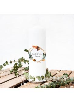 Hochzeitskerze Kerze zur Trauung Vermählung mit Boho Federkranz Namen & Datum wk25