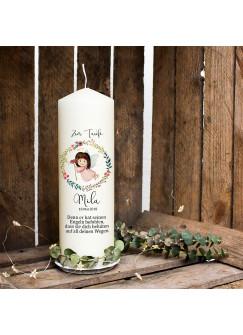 Taufkerze Kerze zur Taufe oder Geburt Kommunionkerze Engel Blumenkranz Spruch mit Wunschname & Datum wk37