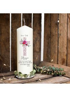 Taufkerze Kerze zur Taufe oder Geburt Kommunionkerze Kreuz rosa mit Blumen Spruch Wunschname & Datum wk38