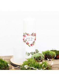 Hochzeitskerze Kerze zur Hochzeit Trauung Traukerze mit Magnolie Blumenherz Wunschnamen & Datum wk50