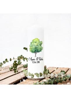 Hochzeitskerze Kerze zur Hochzeit Trauung Traukerze mit Lebensbaum Wunschnamen & Datum wk6