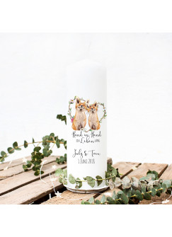 Hochzeitskerze Kerze zur Hochzeit Trauung Traukerze mit Fuchs Füchsen Spruch Wunschnamen & Datum wk60