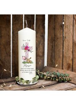 Taufkerze Kerze zur Taufe oder Geburt Kommunionkerze Kreuz rosa mit Hase Häschen Schmetterling Spruch Wunschname & Datum wk63