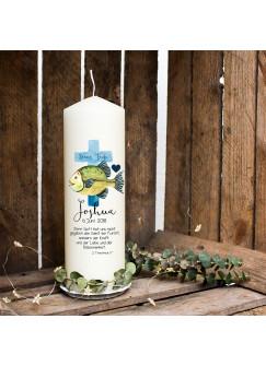 Taufkerze Kerze zur Taufe oder Geburt Kommunionkerze Kreuz blau mit Fisch Spruch Wunschname & Datum wk64