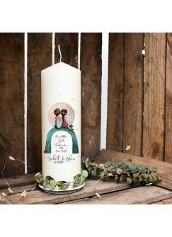 Hochzeitskerze Kerze zur Hochzeit Trauung Traukerze mit Elfenpärchen & Spruch Wunschnamen & Datum wk66