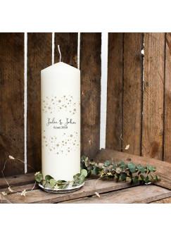 Hochzeitskerze Kerze zur Hochzeit Trauung Traukerze mit Namen Wunschnamen, Datum & Konfetti wk76