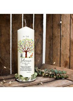 Taufkerze Kerze zur Taufe oder Geburt Kommunionkerze Baum mit Waschbär Fuchs Spruch Wunschname & Datum wk77