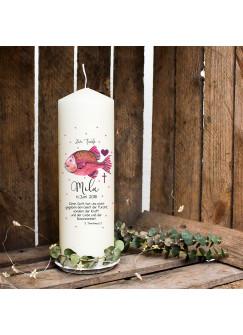Taufkerze Kerze zur Taufe oder Geburt Kommunionkerze Fisch pink Spruch Wunschname & Datum wk82