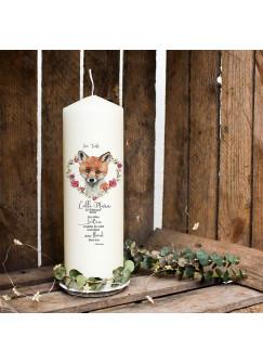 Taufkerze Kerze zur Taufe oder Geburt Kommunionkerze Fuchs Herzkranz mit Spruch Wunschname & Datum wk89