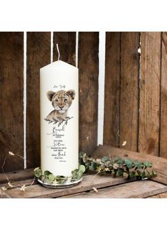 Taufkerze Kerze zur Taufe oder Geburt Kommunionkerze Löwe mit Spruch Wunschname & Datum wk91